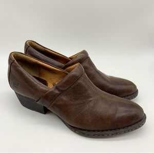 BORN ankle boots brown leather, 9.5, 41.